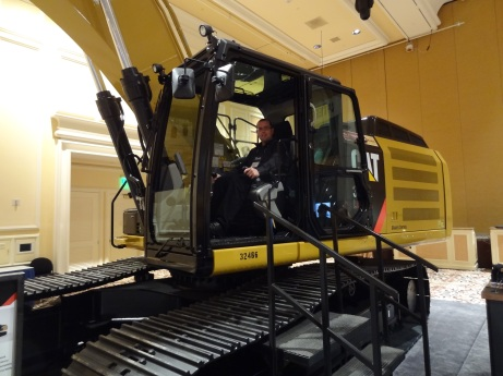 Martin couldn't resist a go in a JCB