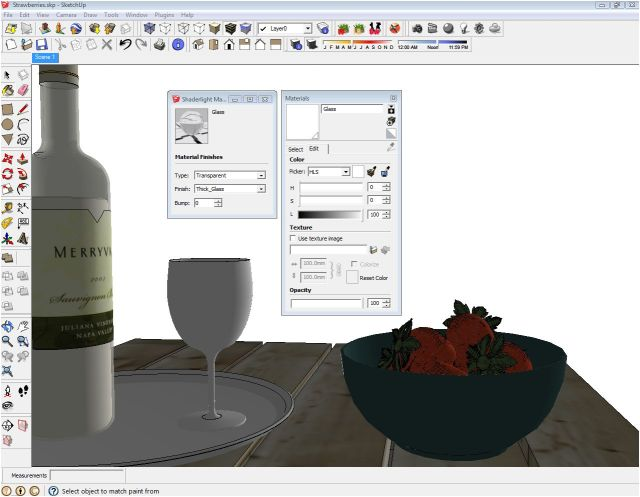 Wine Bottle & Glass Settings